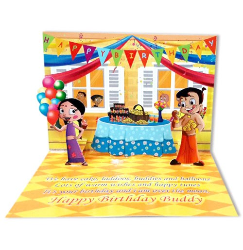 Chhota Bheem Birthday Greeting Card Green Gold Store