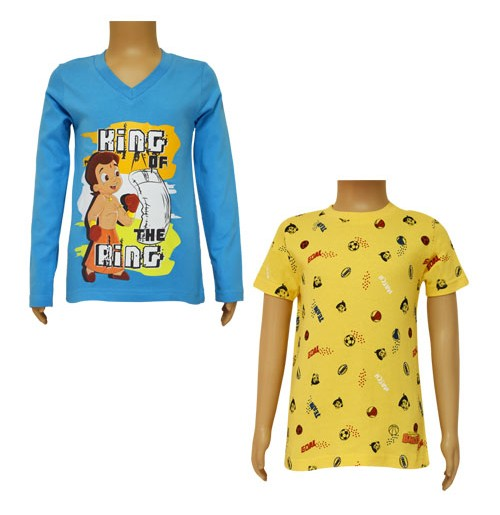 Chhota Bheem T-shirts- Combo Blue and Yellow