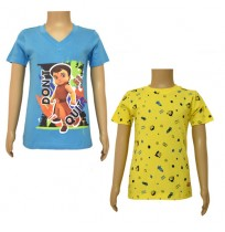 Super Bheem T-shirts- Combo Blue and Yellow