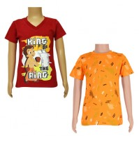Chhota Bheem T-shirts- Combo Red and Orange