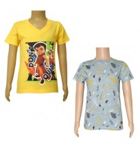 Super Bheem T-shirts- Combo Yellow and Grey