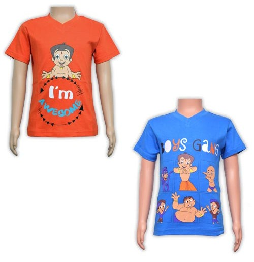 Boys T-Shirt Combo - Orange and Blue
