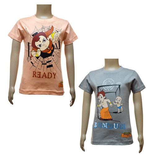 Boys T-Shirt Combo - Peach and Grey