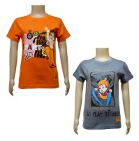 Boys T-Shirt Combo - Orange and Dark Grey