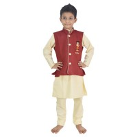 Ethnic Wear - Boys Kurta Pajama 3 Pc Set