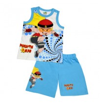 Mighty Raju Short Set - White & Blue