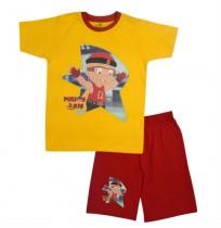 Mighty Raju Short Set Half Sleeves - Yellow & Red