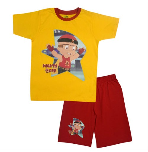 Mighty Raju Short Set Half Sleeves - Yellow & Red