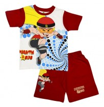Mighty Raju Short Set Half Sleeves - White & Red