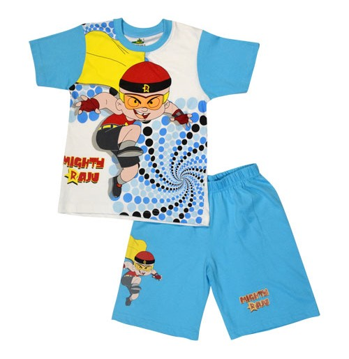Mighty Raju Short Set Half Sleeves - White & Blue