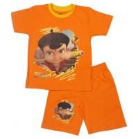 Super Bheem Short Set Half Sleeves - Orange