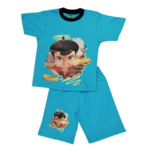 Super Bheem Short Set Half Sleeves - Turquoise Blue