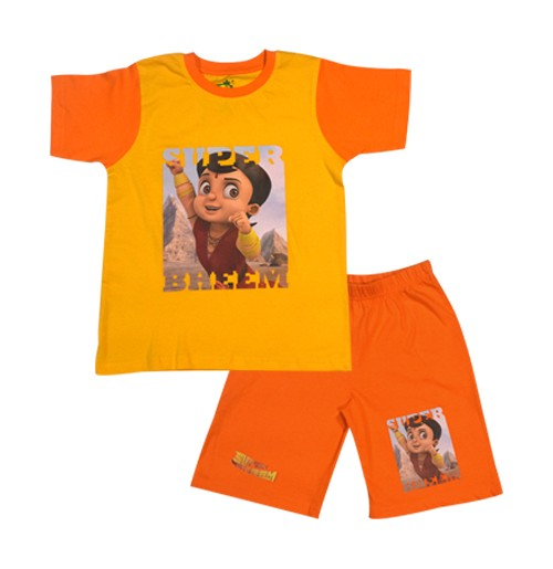 Super Bheem Short Set Half Sleeves - Yellow & Orange