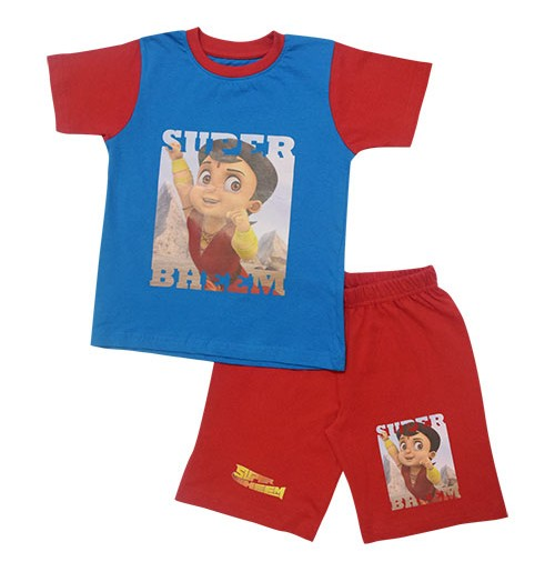 Super Bheem Short Set Half Sleeves - Blue & Red