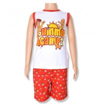 Chhota Bheem T-Shirt and Woven Aop Short-White