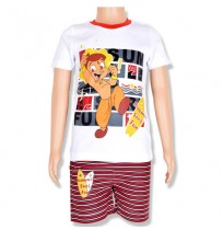 Chhota Bheem T-Shirt and Knitted Aop Short-White