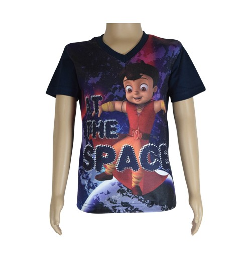 Super  Bheem Sublimation T-shirt- Navy Blue-1
