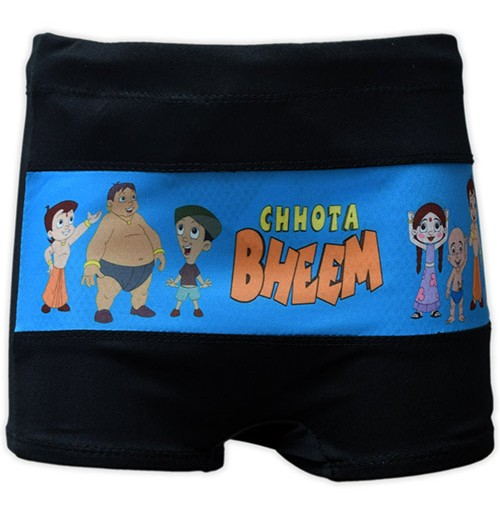 Chhota Bheem Boys Swim Shorts - Black and Blue