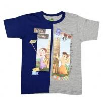 Chhota Bheem T Shirt - Blue, Grey & Melange
