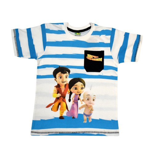 Super Bheem T Shirt - White & Blue
