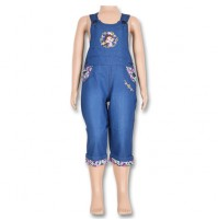 Chutki Girls Denim Dungrees - Blue