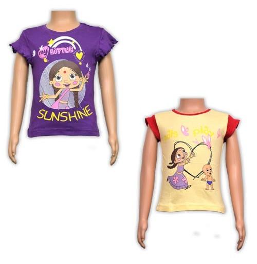 Girls Top Combo - Purple and Cream White