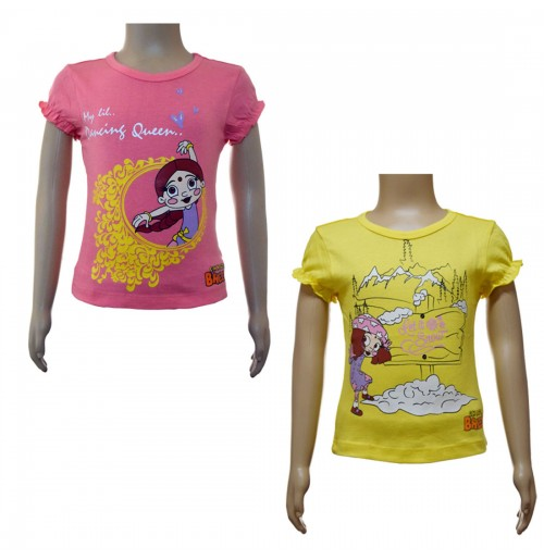 Girls Top Combo - Fuchsia & Yellow