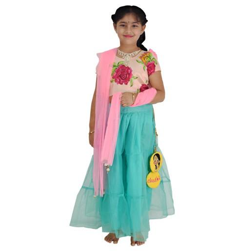Ethnic Wear - Girls Ghagra Choli 4 Pc Set