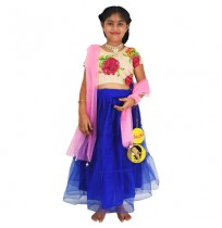 Ethnic Wear - Girls Ghagra Choli 4 Pc Set