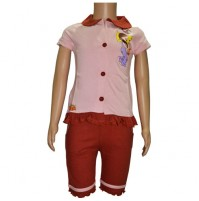 Chutki Night Dress - Pink and Brown