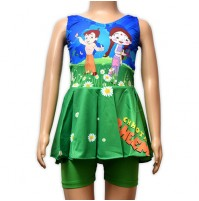 Chhota Bheem Girls Swimwear - Green and Blue