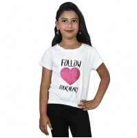 Chutki Follow Your Heart Half Sleeves T-Shirt White