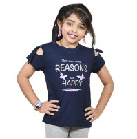 Chutki There Are Many Reason To Be Happy Half Sleeves T-Shirt Blue