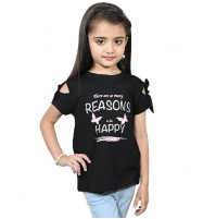Chutki There Are Many Reason To Be Happy Half Sleeves T-Shirt Black