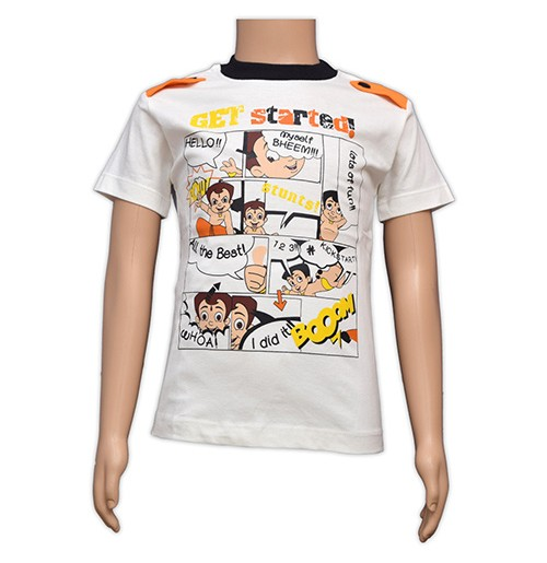 Chhota Bheem Printed Boys T-Shirt - White
