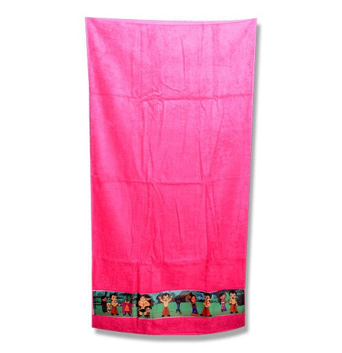 Chhota Bheem Border Print Towel - Pink