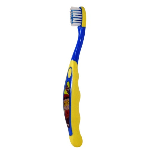 Mighty Raju Tooth Brushes With Cap-Yellow-Blue