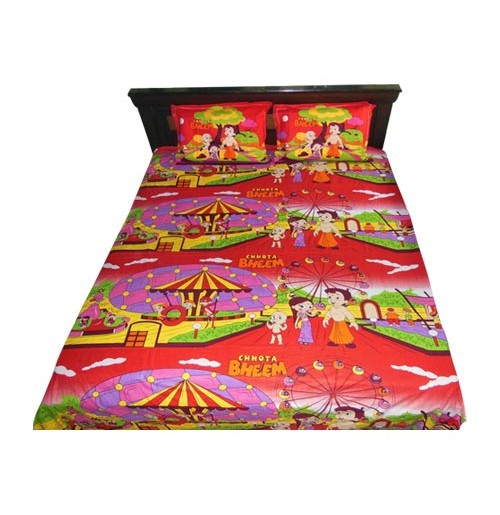 Chhota Bheem Double Bed Sheet - Red