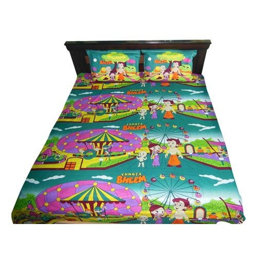 Chhota Bheem Double Bed Sheet - Green