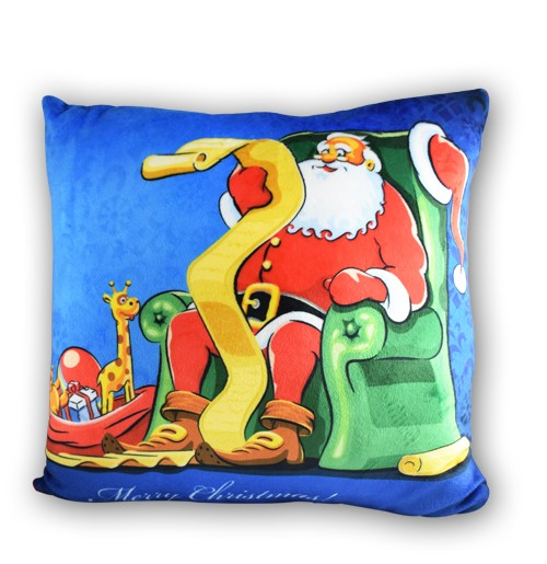 Santa In Chair Printed Cushion