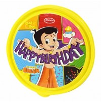 Chhota Bheem Round Steel Lunch Box Yellow