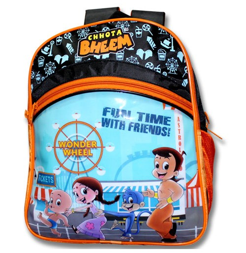 Chhota Bheem School Bag - Black and Orange