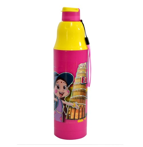 Chhota Bheem Water Bottle Pink and Yellow1