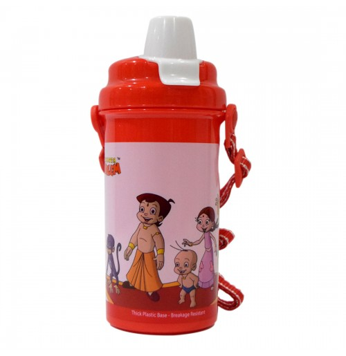 Chhota Bheem Water Bottle - Pull Cap - Red and Pink