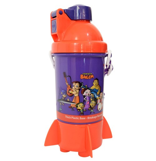 Chhota Bheem Rocket Water Bottle - Red and Purple