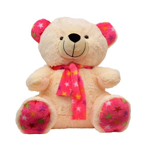 24 Inch Valentines Day Scarf Teddy Bear Cream