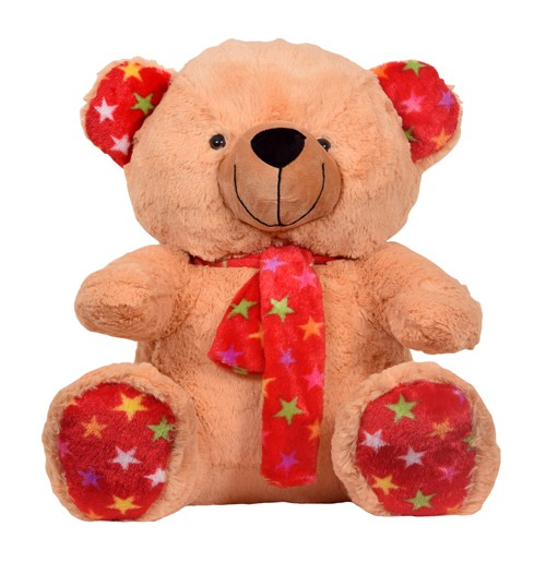 13 Inch Valentine's Day Scarf Teddy Bear Light Brown